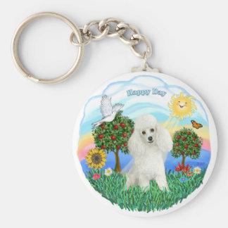 Poodle (white #14) key chain