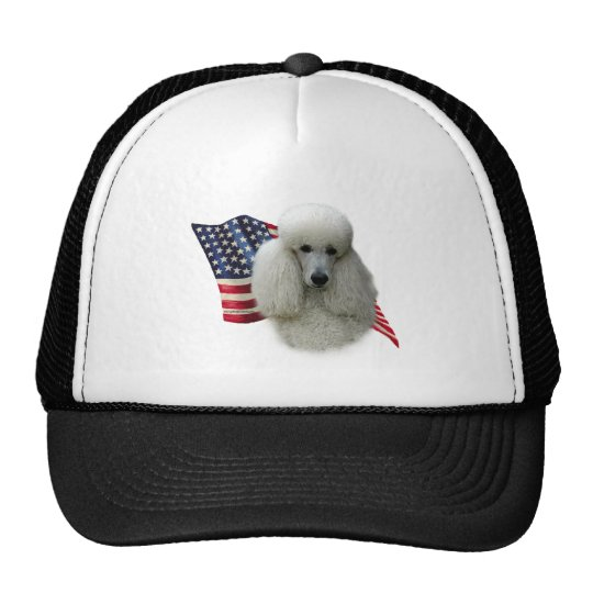 Poodle (white) Flag Trucker Hat