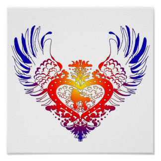 Poodle Winged Heart Print
