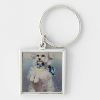 Poodle with blue ribbon keychain
