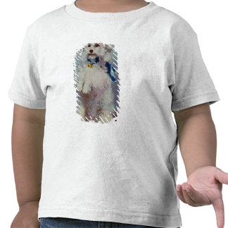 Poodle with blue ribbon t shirts