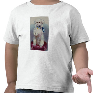 Poodle with blue ribbon tee shirt