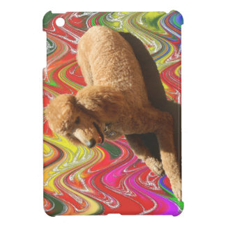 POODLE WITH CHRISTMAS CANDY COLORS. CASE FOR THE iPad MINI