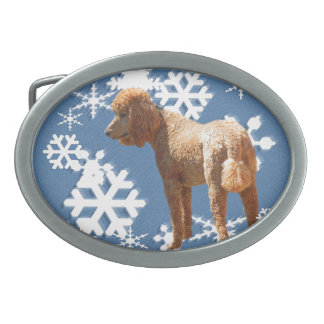 POODLE WITH SNOW FLAKES BELT BUCKLE