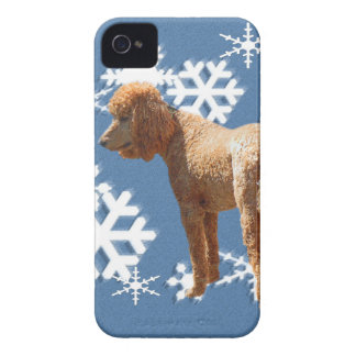 POODLE WITH SNOW FLAKES iPhone 4 COVER