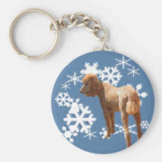 POODLE WITH SNOW FLAKES KEYCHAIN