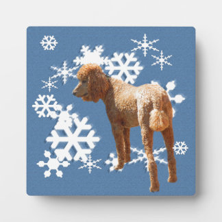 POODLE WITH SNOW FLAKES PLAQUE