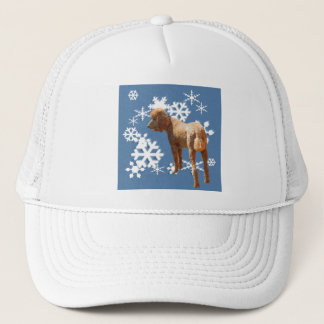 POODLE WITH SNOW FLAKES TRUCKER HAT