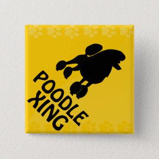 Poodle Xing Pinback Button