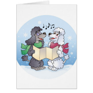 Poodles Christmas Caroling Card