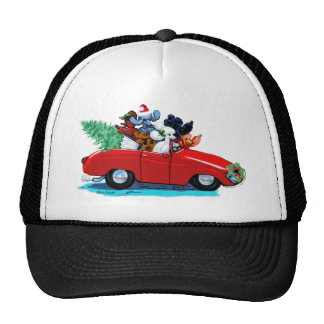 Poodles Christmas Vintage Car Art Print Cap Trucker Hat