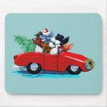 Poodles Christmas Vintage Car Art Print Mousepad
