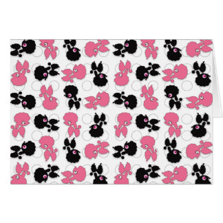 Poodles Dogs Black and Pink Card