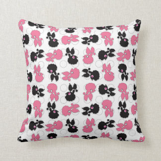 Poodles Dogs Black and Pink Throw Pillow