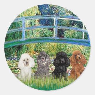 Poodles (four) - Bridge Classic Round Sticker