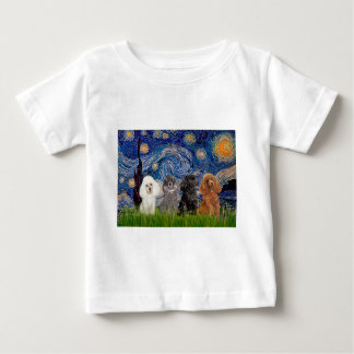 Poodles (four) - Starry Night Baby T-Shirt