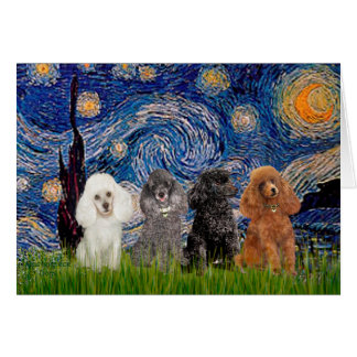Poodles (four) - Starry Night Greeting Card