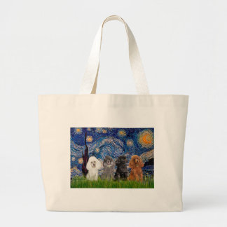 Poodles (four) - Starry Night Large Tote Bag