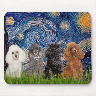 Poodles (four) - Starry Night Mouse Pad