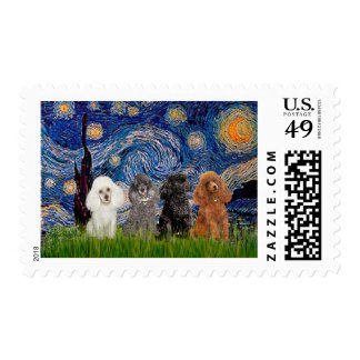 Poodles (four) - Starry Night Postage