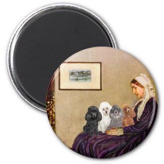 Poodles (four) - Whistler's Mother 2 Inch Round Magnet