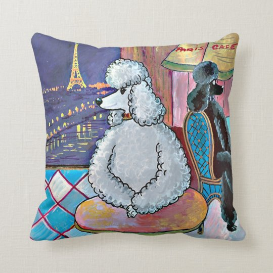 Poodles in Paris Impressionistic Painting Throw Pillow