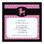 "Poodles in Paris Square Hot Pink Invitation 5.25"" Square Invitation Card"