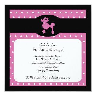 Poodles in Paris Square Hot Pink Invitation