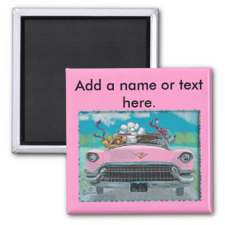 Poodles in Pink Cadillac Retro Print Magnet