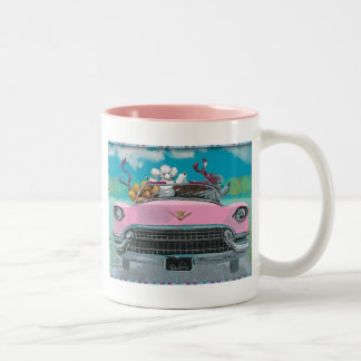 Poodles in Pink Cadillac Retro Print mug cup