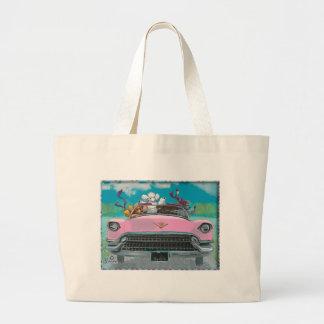 Poodles in Pink Cadillac Retro Print Tote Bag