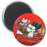 Poodles in Red Convertible Christmas Fridge Magnet