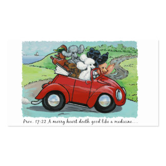 Poodles in Red Convertible Scripture Business Card
