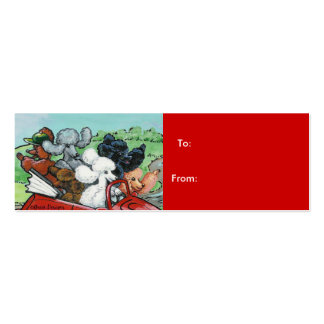 Poodles in Vintage Auto Tags Business Card Template