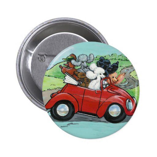 Poodles in Vintage Red Convertible 2 Inch Round Button