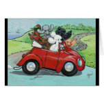 Poodles in Vintage Red Convertible Card