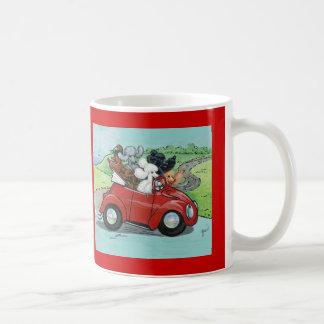 Poodles in Vintage Red Convertible Coffee Mug