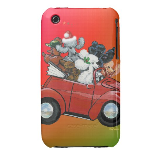 Poodles in Vintage Red Convertible iPhone 3 Cover