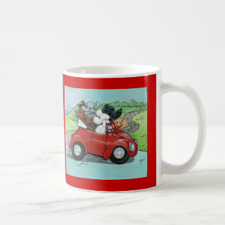 Poodles in Vintage Red Convertible Classic White Coffee Mug