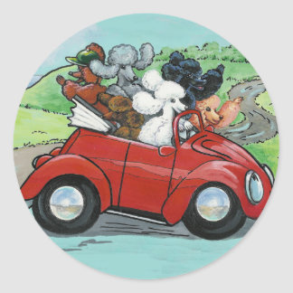 Poodles in Vintage Red Convertible Sticker