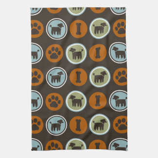 Poodles Pattern with Paw Prints and Dog Biscuits Hand Towel