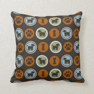 Poodles Pattern with Paw Prints and Dog Biscuits Pillow