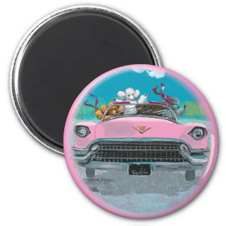 Poodles Pink Convertible Retro Print Magnet