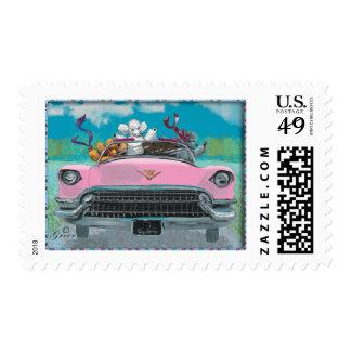 Poodles Pink Retro Car Postage stamps