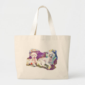 Poodles Poodles Everywhere... with lots of kisses Large Tote Bag