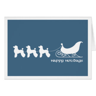 Poodles Pulling Santa's Sleigh Greeting Cards