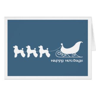 Poodles Pulling Santa's Sleigh Greeting Card