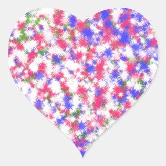 Poofy Fuzzy Flowers Heart Stickers