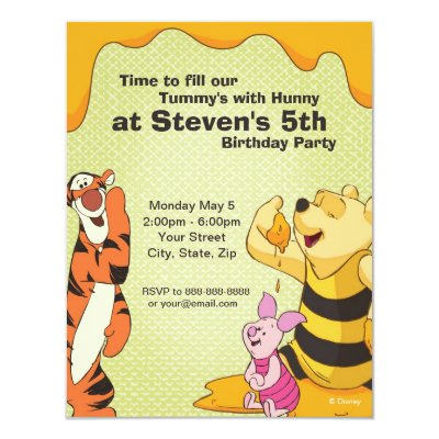 Pooh and Pals Birthday Invitation 4.25