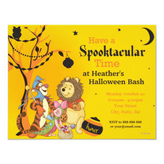 "Pooh and Pals Halloween Party 4.25"" X 5.5"" Invitation Card"